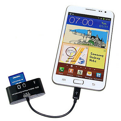 Micro 3in1 SD Card Reader HUB OTG 5-Pin USB 2.0 Adapter For Tablet Phone