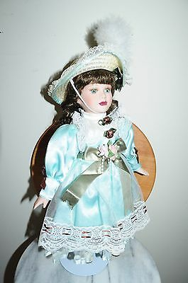 Lady Porcelain Doll 18 inches with Hat and Stand Show Stoppers