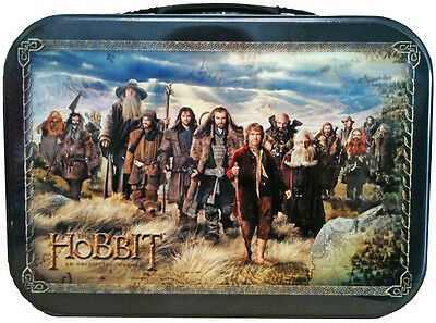 THE HOBBIT - Cast Large Metal Lunchbox (Ikon Collectables) #NEW