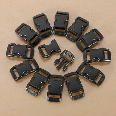 100Pcs Black Plastic Curved Side Release Buckles Clips For Webbing 10mm Straps