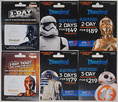 6 Different DISNEYLAND STAR WARS Passport Gift Cards 2012 and 2016 Mint on Cards