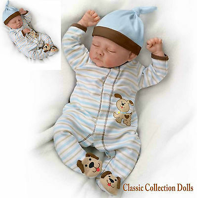 "Ashton Drake ""SWEET DREAMS DANNY"" - LIFELIKE BABY BOY DOLL- NEW - IN STOCK NOW !"