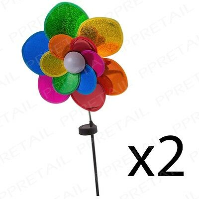 2 x LED Flower Windmill Spinner SOLAR POWERED Sunlight Wind Visual Lawn Decor
