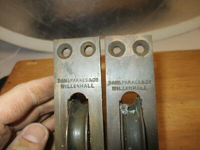 "Antique Sash Window Pulley Axle Iron Brass ""Sam Parkes & Co"" Architectural Pair"