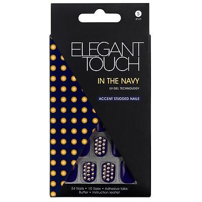 Elegant Touch False Nails - In The Navy & Gold Studs - Short Length (24 Nails)