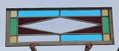 Antique Stained Glass Transom Window Diamond Vtg Old Shabby Cottage Chic 46-16
