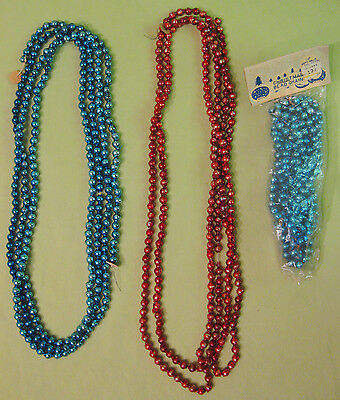 3 Vintage 1940s Christmas Glass Bead Garlands-- 8 and 9 feet long