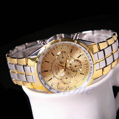Fashion Men's Stainless Steel Luxury Date Gold Dial Analog Quartz Wrist Watch