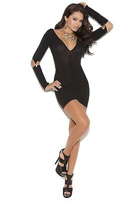 Elegant Moments 8019 Opaque Mini Dress With Gartered Long Sleeves (Black;OS)