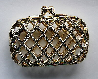 VINTAGE AMAZING LITTLE SMALL TINY GOLD METAL CAGE PURSE CLUTCH LIPSTICK, etc...