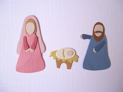 Nativity Die Cuts ~ Joseph Mary Baby Jesus Manager Embellishments Scrapbooking