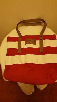 Coke Canvas Tote Bag: Crimson and White with Brown Leather Handles