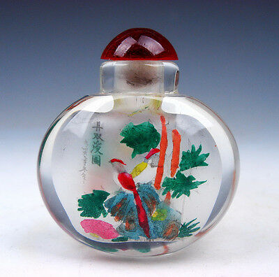 Peking Glass Inside *Lovely Birds* Reverse Hand Painted Snuff Bottle #01171603