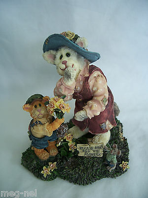 Boyds Bear Purrstone Momma Meowsler & Hank Cat Figurine Mother's Day New Flowers