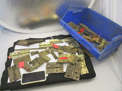 Old Brass Hinges Job Lot Bulk Antique - Vintage Mixed Sizes Large - Small x80ish