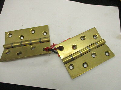"Vintage Solid Brass Hinges Architectural Antique Pair ""James Collins"" Old 4"""