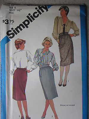 6596 VINTAGE Simplicity Sewing Pattern Misses Wrap Slim-Fitting Skirt UNCUT 12