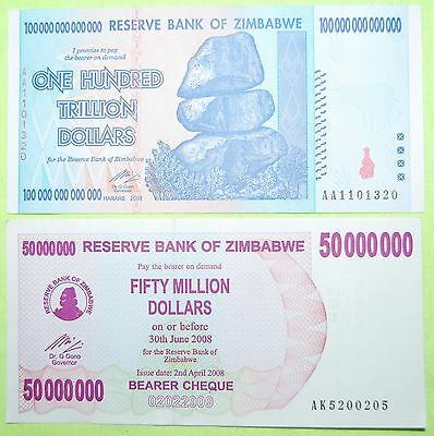 Zimbabwe 100 Trillion Dollars Currency | 2008 Aa | Unc | + Free 50 Million Bill!
