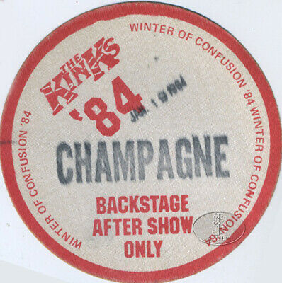 The KINKS 1984 Winter Of Confusion Tour Backstage Pass Champagne