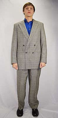 Vintage 80's Men's CHRISTIAN DIOR Plaid Double Breasted Wool Suit Size 42 L