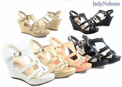 NEW Gladiator Open Toe Buckle Strappy Wedge Heel Sandals Shoes Size 5 - 10