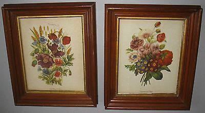 ANTIQUE PAIR of SOLID WALNUT VICTORIAN 3-STEP FRAMES w/VINTAGE FLORAL PRINTS