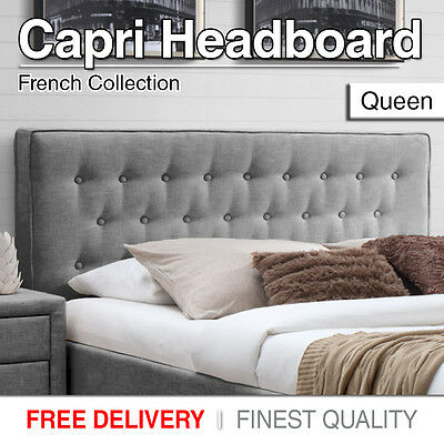 New Queen Headboard Bed Head Upholstered Black, Grey, Sand Fabric For Base/Frame