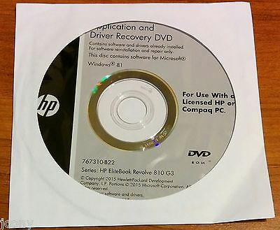 HP APPLICATION AND Driver Recovery DVD EliteBook 820 828 840 848 850