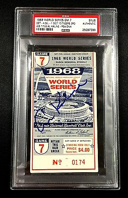 Al Kaline Signed 1968 World Series Game 7 Clinching Ticket Detroit Tigers Psa