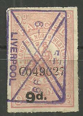9D London And North Western Railway Parcel Stamp Boxed Liverpool Cancel