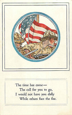 """Patriotic Ww1 American Flag W/soldiers """"call To Arms"""" P/c"""