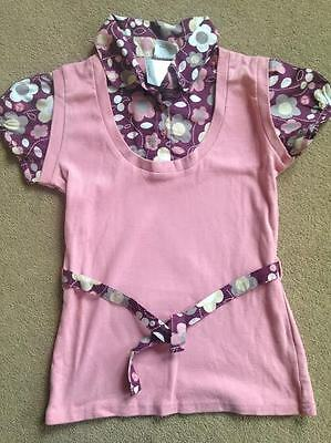 BNWT NEXT Pink Floral Blouse Tank Top Belt 10 Years 140cms