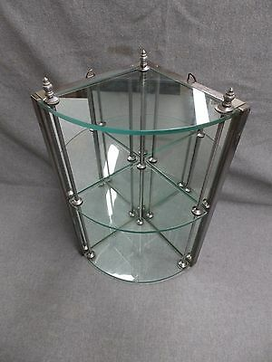 Vintage Chrome 3 Tier Bathroom Glass Corner Shelf Mirror Back 52-16