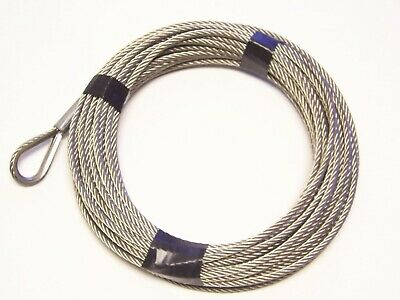 "3/16"" x 50 ft Stainless Steel Winch Cable with SS Thimble & ZP Copper Sleeve Eye"