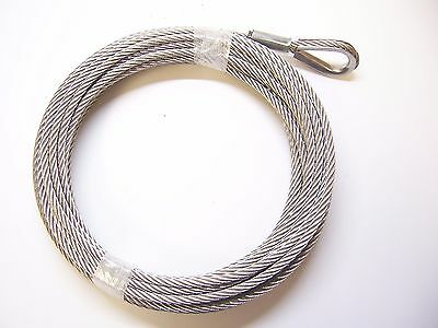 """1/4"""" x 50 ft Stainless Steel Winch Cable, SS Thimble & ZP Copper Sleeve Eye"""