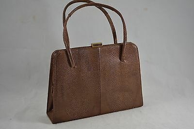 VINTAGE HARRODS brown lizard skin leather kelly bag/handbag suede lined 1960s