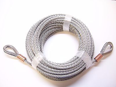 "5/16"" x 100 ft Stainless Steel Winch Tow Cable, SS Thimble & Copper Sleeve Eyes"