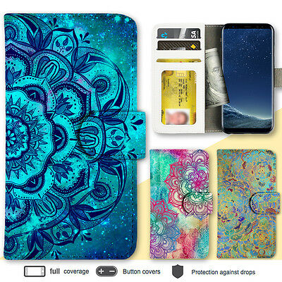 Galaxy S8 Note 8 Case Mandala Print Wallet Leather Cover for Samsung S7 Note 5