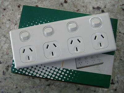 5 x 10 Amp Quad Power Point 4 Gang Socket NEW Electrical Supplies 10A SAA GPO