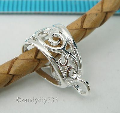 1x STERLING SILVER BRIGHT FLOWER SLIDE BAIL PENDANT CLASP CONNECTOR  #2598