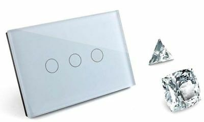 1/2/3 Gang Dimmer+Touch Control Wall Light Switch Crystal Glass, LED BackLight
