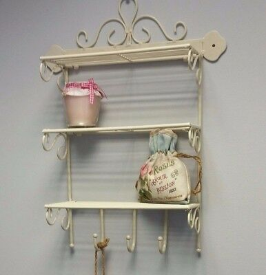 Small Wall Hanging Shelf Display Kitchen Bedroom Bathroom Shabby Chic Style