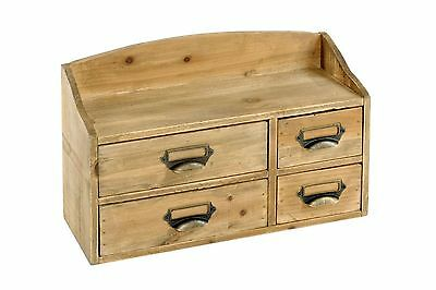 Shabby Chic Small Wooden Cabinet Chest of 4 Drawers Storage Organiser Brown