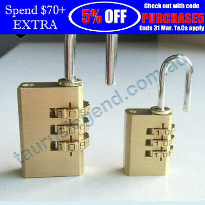 2PC 3-Digit Code Combination Brass Padlock Travel Suitcase Luggage Security Lock