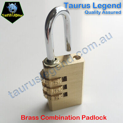 3-Digit Code Combination Brass Padlock Travel Suitcase Luggage Security Lock NEW
