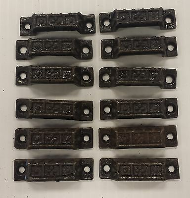 12 Mini DRAWER PULLS  EMBOSSED CAST IRON  VICTORIAN STYLE