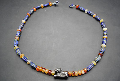 Ancient West Asian Stone Bead Necklace With Lion Amulet 1St Millenium Bc