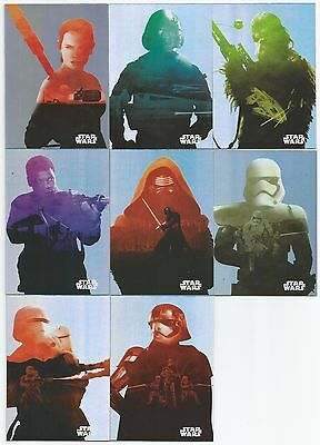 2015 Topps Star Wars The Force Awakens Character Silhouette Foil Complet Set (8)