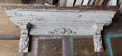 Antique Pediment Header Corbel Mantel Shelf Old Vtg Shabby Victorian Chic 60-16
