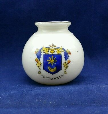 "Corona Crested Ware Miniature Vase with Portsmouth coat of arms 2 1/4"" tall"